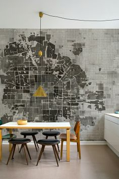 Map print on dining walk