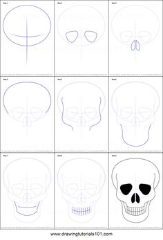 How to Draw Skull Easy step by step printable drawing sheet to print. Learn How to Draw Skull Easy Easy Skull Drawings, Scary Drawings, Skeleton Drawings, Art Drawings Sketches, Skeleton Drawing Easy, Simple Skull Drawing, Easy Halloween Drawings, Scull Drawing, Human Drawing