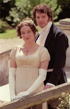 Jennifer Ehle and Colin Firth as Elizabeth Bennet and Mr Darcy / BBC Pride & Prejudice Jane Austen, Jennifer Ehle, Darcy And Elizabeth, Elizabeth Bennett, Colin Firth, Winchester, Mr. Darcy, Little Dorrit, Regency Dress