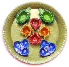 Collection of diya decoration ideas made with acrylic colors,kundan stones and sparkle glue. These are the perfect decor for Diwali and can be done easily. Diya Decoration Ideas, Diwali Diya, Fairy Garden Furniture, Bohemian Gypsy, Acrylic Colors, Platter, Kids Room, India, Prints
