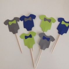Baby Shower Cupcake Toppers - Baby Boy Onesies with Bowtie - Set of 12 - http://babyshowercupcake-toppers.com/baby-shower-cupcake-toppers-baby-boy-onesies-with-bowtie-set-of-12/