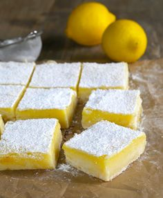 A simple lemony shortbread crust with a tart, refreshing lemon custard, these gluten free lemon bars are so easy to make. MAKE VEGAN. Gluten Free Deserts, Gluten Free Sweets, Gluten Free Cakes, Foods With Gluten, Gluten Free Cooking, Dairy Free Recipes, Gluten Free Lemon Bar Recipe, Paleo Lemon Bars, Gluten Free Cereal