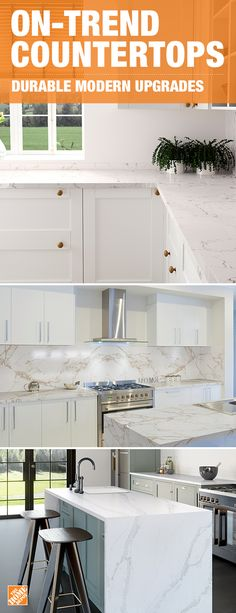 Update your kitchen with scratch-resistant quartz countertops. Style a chic white palette that's easy to keep clean with stain-resistant surfaces like the Quartz Calacatta Gold or White Arabesque colors. Click to shop custom countertop styles.