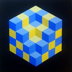 Op Art Geometric Cube Painting  By Artist Dominic Joyce Painted with Daler Rowney Acrylic on a Loxley Stretched Deep EdgeCanvas  Size = 12 x 12 x