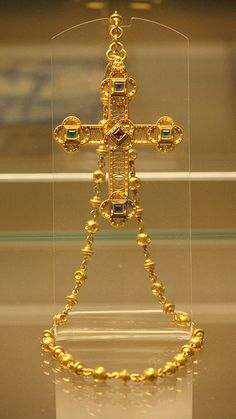Gold Cross with Rubies, Emerald and Sapphire c.1860