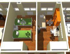 VIV.B vista de detalle de zona de dormitorios secundarios
