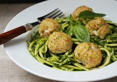"""Chicken Veggie Meatballs with Pesto Zucchini """"Noodles"""" - zucchini, (leave out carrots), parsley, garlic cloves, blanched almond flour, egg, boneless skinless chicken breasts, sea salt, ground pepper, chili powder (optional), fresh spinach, fresh basil, minced garlic cloves, olive oil, Salt and pepper to taste, coconut oil - Strict Candida Diet"""