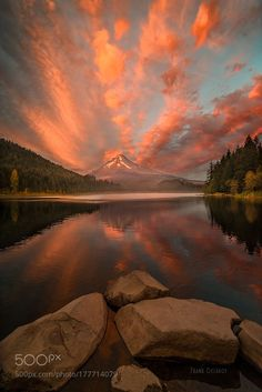 Mt Hood Trillium Fiery Sunset by frank_delargy. Please Like http://fb.me/go4photos and Follow @go4fotos Thank You. :-)