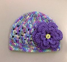 Crochet baby girl flower hat beanie multi color pink purple blue green size 0-3 months  on Etsy, $15.00