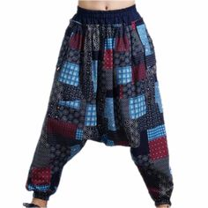 Men Male Fashion Hip Hop Baggy Cross Pants Harem Pants Print Pattern Elastic Waist Ankle Loose Length Trousers Casual Cool #Affiliate