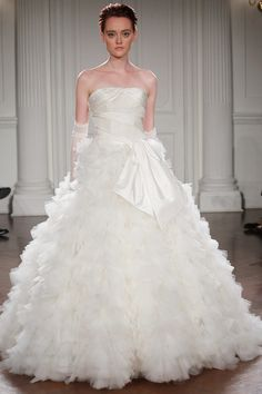 DALIA - Gown with a strapless beaded bodice and a full skirt made of a myriad of tulle cut petals
