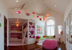 How to Make Small Bedroom Decorating Ideas for Girls: Small Bedroom Decorating Ideas For Girls With Dangling Chandelier And Bunk Beds Plus White Ladder And Striped Wall With Colorful Wall Art With Window Bench And Lime Green Cushions ~ klfs.org Bedroom Inspiration