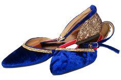Indian Mojri Blue Velvet Flats, Sequined