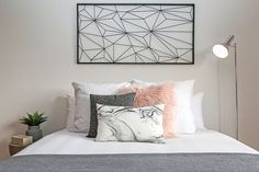 Funky pink grey black and white teen girls bedroom faux fur and marble cushion