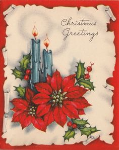 Vintage greeting card christmas unused candles pine e531 vintage vintage greeting card christmas poinsettia flowers candles v214 m4hsunfo