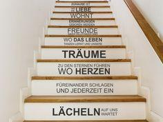 """Wandtattoo """"Zuhause ist"""" auf der Treppe :) Treppentattoo mit Sprüchen."""