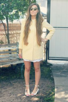 light yellow chessboard Zara jacket - brown double layered romwe sunglasses | CutiePieMarzia