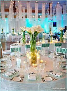 Sea breeze & crystal table wedding ideas