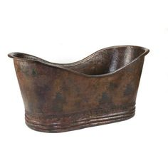 """Premier Copper Products BTD67DB Double Slipper Bathtub Hand Hammered Copper 67"""" Oil Rubbed Bronze Tub Soaking Freestanding"""