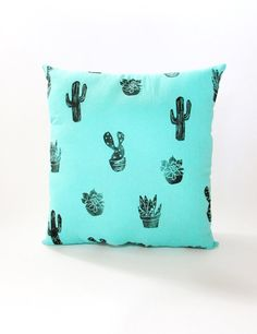 Plush Cactus Pillow. 16x16 inches. Hand Woodblock by LauraFrisk