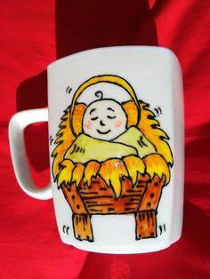 Handpainted mug with baby Jesus. Christmas time!