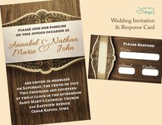 Wedding Invitation and RSVP Card  Wood Grain by EmDesignWedding