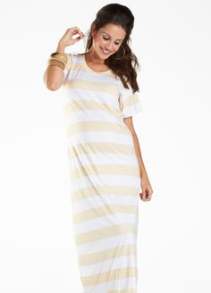 Fillyboo - Tee for Two Dress in Cream. Summer maternity maxi dresses online at Queen Bee