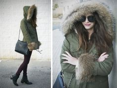 military green parka <3 More Chic Parka Fashion Inspiration: http://famecherry.com/fashionista-now/fashionista-now-chic-parka-fashion-inspiration/
