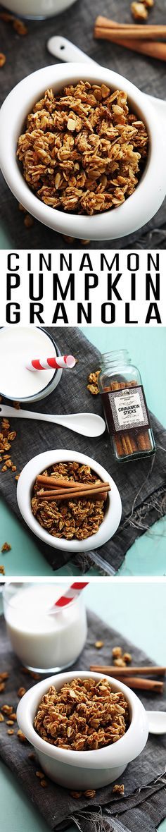 Sweet and crunchy homemade cinnamon granola with a hint of pumpkin. Easy to make, plus better tasting and more affordable than store-bought granola!