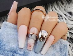 22 Matte French Ombre, Blue-Grey & Crystals on Long Coffin Nails – Long Nails – Long Nail Art Designs Cute Acrylic Nails, Acrylic Nail Designs, Nail Art Designs, Nail Crystal Designs, Best Nail Designs, Coffin Nail Designs, Design Art, Fancy Nails Designs, Long Nail Designs