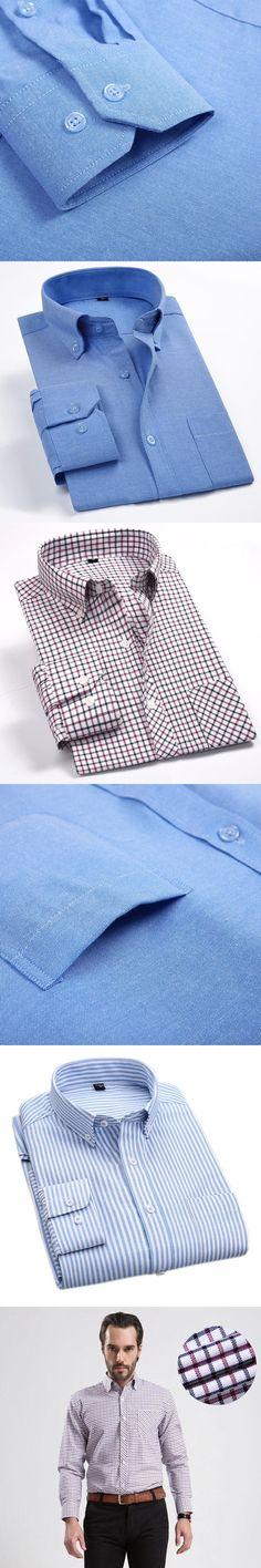 Oxford Shirts Men Casual High quality U-SHARK Brand Men's Plaid Shirts Business Pure Color White Men Long Sleeve Shirt Slim 4XL