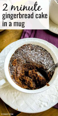 2 Minute Gingerbread Cake in a Mug is a moist and boldly flavored cake, generously seasoned with molasses, cinnamon, and Microwave Mug Recipes, Mug Cake Microwave, Microwave Baking, Sweet Recipes, Cake Recipes, Dessert Recipes, Mini Desserts, Just Desserts, Individual Desserts