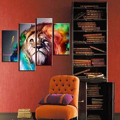 Stretched Canvas Print Art Animal Lion Set of 4 - USD $ 89.99