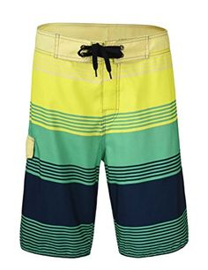 d41c0659aa Nonwe Men's Qick Dry Boardshorts Colorful Stripe Casual Short Swim Trunks  with Lining Review Mens Swim