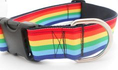 Rainbow Adjustable Dog Collar Wide Width by UncleBarkley on Etsy