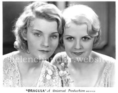 Helen Chandler and Frances Dade as Mina and Lucy in Dracula Old Hollywood Glamour, Vintage Hollywood, Classic Hollywood, Helen Chandler, Best Vampire Movies, Rochelle Hudson, Classic Monsters, Horror Films, Horror Posters