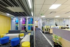 DT Studio Pvt Ltd has created a new office design for navigation, mapping, and location tech company HERE located in Bangalore, India. Open Office, Cool Office, Visual Merchandising, Bangalore India, Branding, Workplace Design, Design Furniture, Office Interiors, Stores