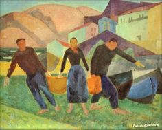 basque fishermen artwork by daniel vazquez diaz
