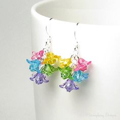 Flower Earrings Colorful Swarovski Crystal by whimsydaisydesigns