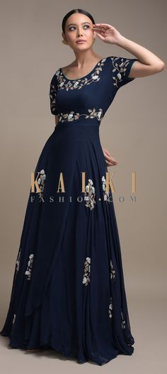 Buy Online from the link below. We ship worldwide (Free Shipping over US$100)  Click Anywhere to Tag Navy-Blue-Long-Dress-In-Georgette-With-Pearls-And-Thread-Embroidered-Floral-Motifs-Online-Kalki-Fashion Anarkali, Lehenga, Floral Motif, Indian Wear, Salwar Kameez, Party Wear, Ethnic, Navy Blue, Sari