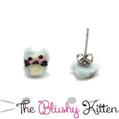 A Glass of Milk Kitten Stud Earrings, Steel Studs, Felt Milk Kitten, Felt Milk, Felt Earrings, Customised, Flavoured Milk Studs, Kitten Stud by TheBlushyKitten on Etsy