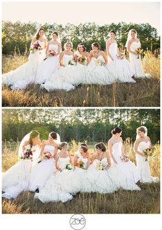 7 best friends wearing their wedding dresses for a fun shoot