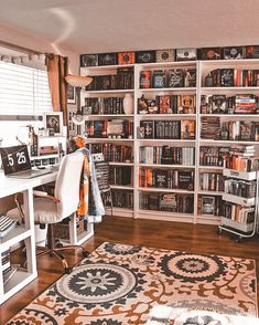 Study Room Decor, Room Ideas Bedroom, Bedroom Decor, Library Bedroom, Home Library Rooms, Bedroom Night, Bedroom Office, Bookshelf Inspiration, Room Inspiration