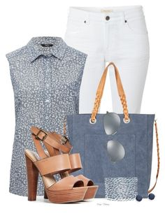 """""""Chambray for Summer"""" by madamedeveria ❤ liked on Polyvore featuring moda, White Stuff, M&Co, Sole Society, Steve Madden, Jaeger, Kate Spade e Ray-Ban"""