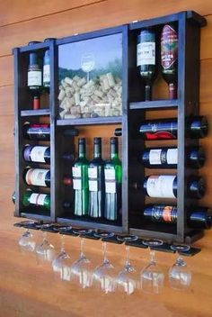 Cute wine storage shelf DIY, with pdf pattern and instructions on how to built it! Wine Rack Design, Home Bar Designs, Wine Storage, Record Storage, Storage Rack, Wine Cellar, Bars For Home, Wood Projects, Diy Furniture