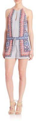 BCBGMAXAZRIA Tyra Scarf Print Halter Short Jumpsuit