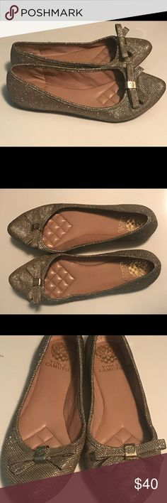 Vince Camuto gold flats Very sparkly and glittery gold Vince Camuto flats size 9. Worn once - very good condition Vince Camuto Shoes Flats & Loafers