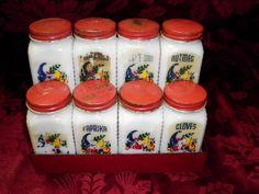 Vintage Metal Spice Rack With Glass Spice Jars