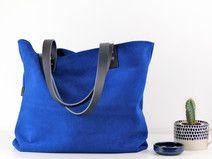 "Tote bag ""Kate"", blau Velourleder"