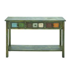 love the painted drawers on this little table
